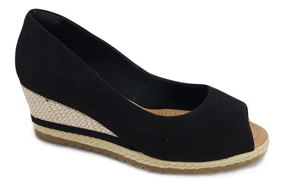 Sapato Peep Toe Espadrille Anabela Bebecê Preto