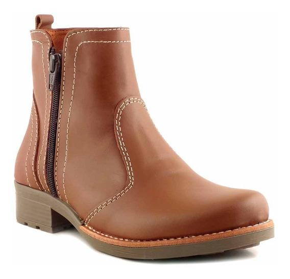 Botineta Cuero Mujer Briganti Bota Goma Zapato - Mcbo24835 2