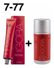 Coloração Igora Royal Louro Médio Cobre Extra 7-77 + Ox 20 V