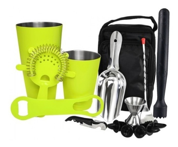 Kit Bartender Bag Amarillo, Cocteleria, Set Barman, Shaker