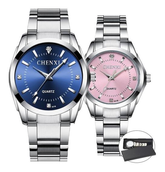 Duo Reloj Pareja Acero Inoxidable Contra Agua Estuche Cx