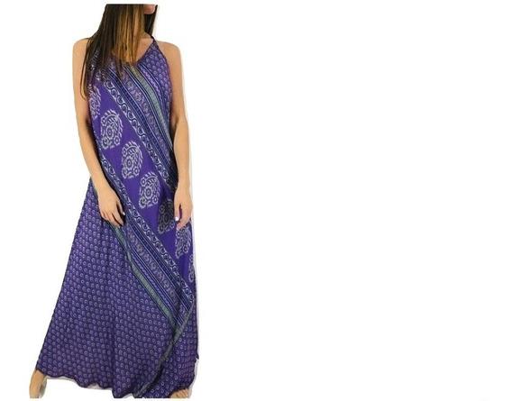 Vestido De Fiesta Largo Importado Seda Hindu