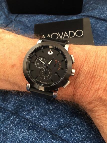 Relógio Grandão Cronógrafo Nivel Do Ômega Movado Museum Sport 44mm Safira 3 Subdials Todo Original Sem Riscos Zerado