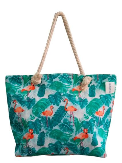 Bolsa Flamingo Tropical Praia Piscina Lona Corda