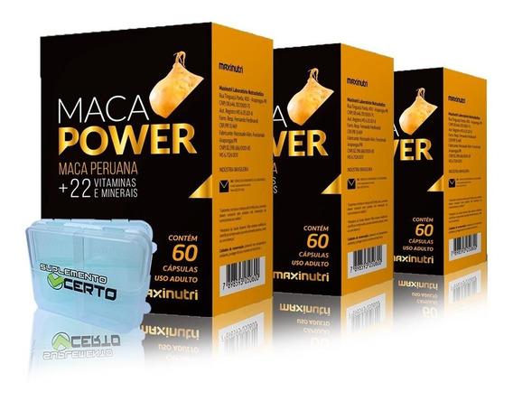 03 Maca Peruana Power 1200mg +22 Vitaminas Maxinutri 60 Caps