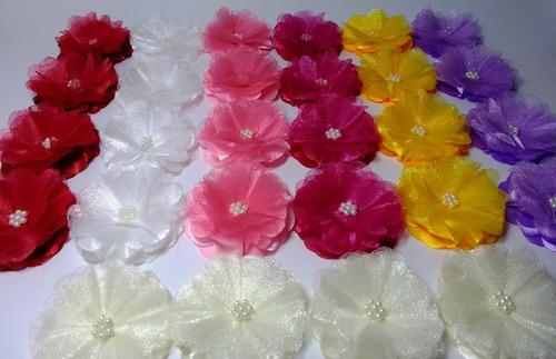 Flores De Tela Raso Y Organza 4,3 Cm
