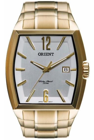 Relógio Masculino Orient Dourado Analógico Retangular