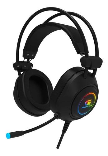 Fone Headset Gamer Rgb Crusader Preto Com Adaptador Fortrek