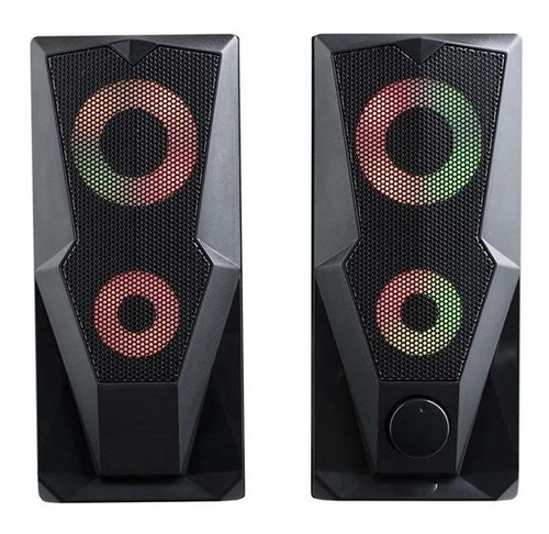 Caixa De Som Gamer P2+usb Stereo 2.0 15w Rms Led Rgb  Sp330