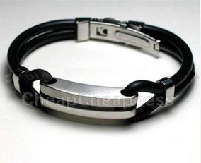 Pulseira Bracelete Masculina Aço Inox Couro