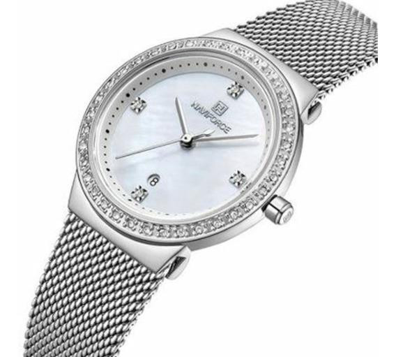 Relógio Feminino Casual Cravejado 3atm - Branco Prata