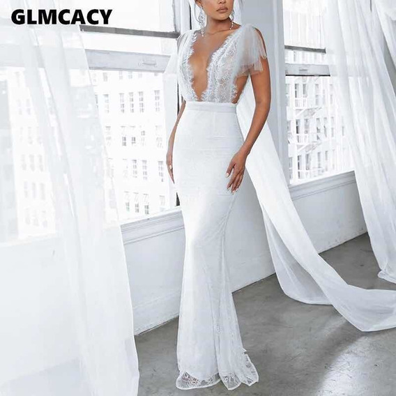 Vestido De Novia Blanco Corte Sirena, Encaje Nuevo Importado