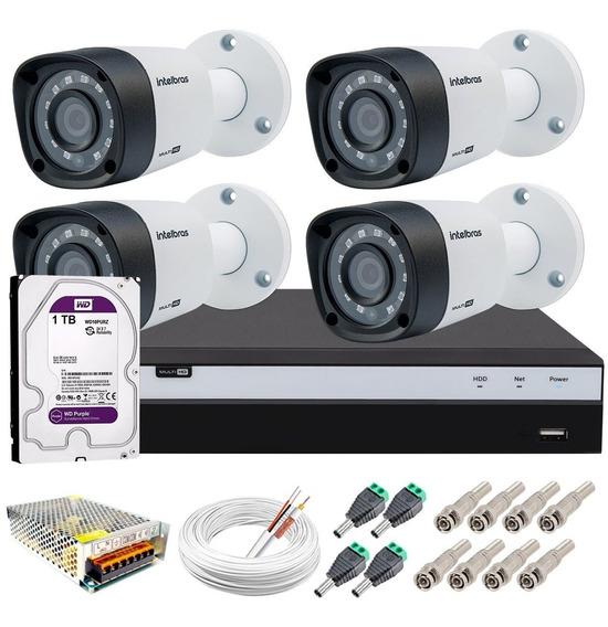 Kit Cftv 4 Câmeras Segurança Full Hd 1220b Dvr 8 Canais Tf