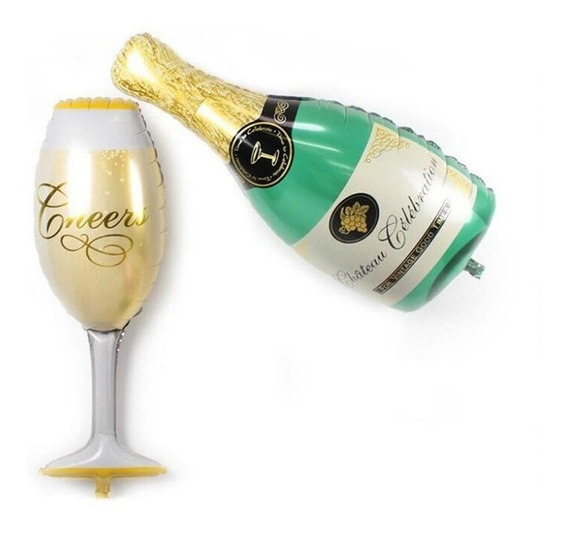 Pack Globo Copa Y Botella Champagne 35 Cm . Caba