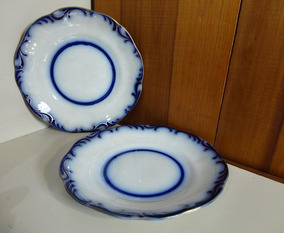 Par De Pratos Davenport Azul Borrão Pearlware - Ano 1844