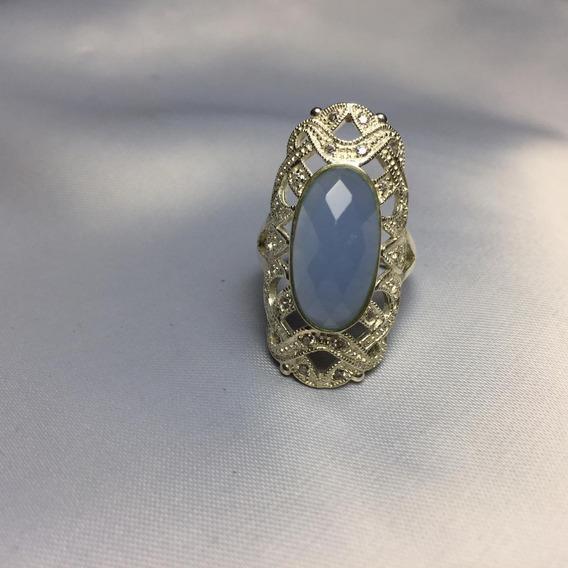 Anel Indiano Com Pedra Aquamarine. Prata 925