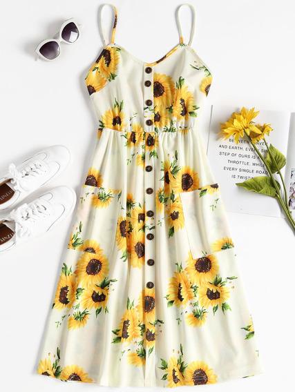 Diseño Creativo Verano Sunflower Cami Midi Vestido Moda