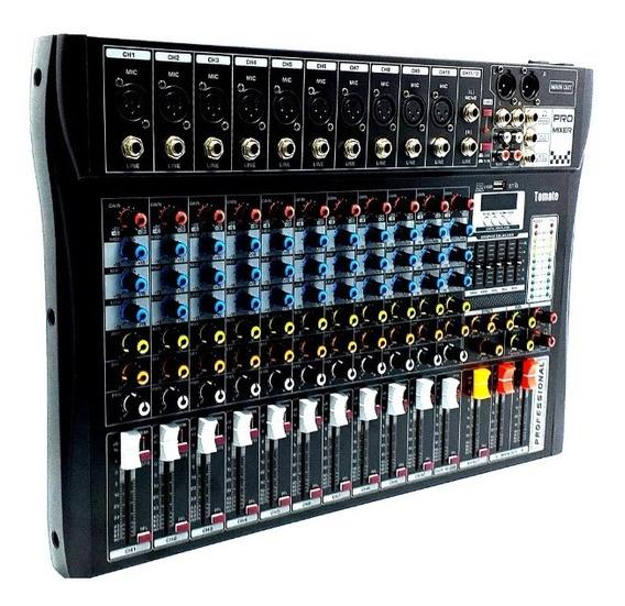 Mesa De Som Bluetooth Usb Mixer Mp3 Digital 12 Canais Tyt012 Tomate