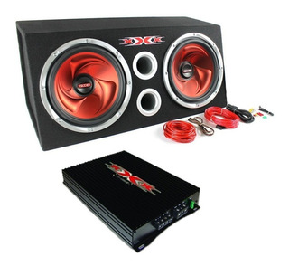 Amplificador Potencia +cables + Bafle 12 Doble Woofer 1200w