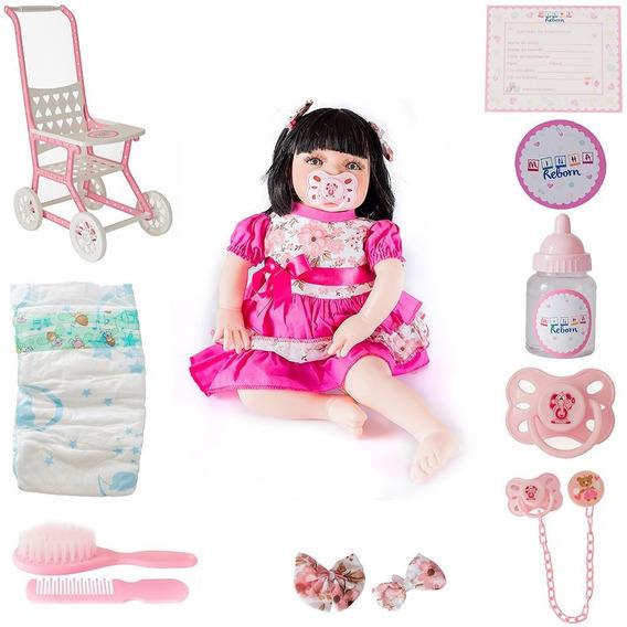 Combo Bebe Reborn De 100 Reais Menina Com Kit Acessorio Susi