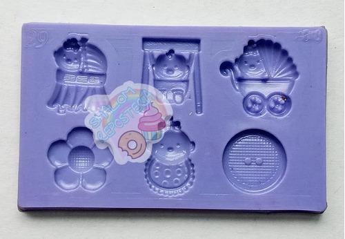 Imagen 1 de 3 de *mini Molde Tipo Silicon Baby Shower M3 Cupcake Fondant*