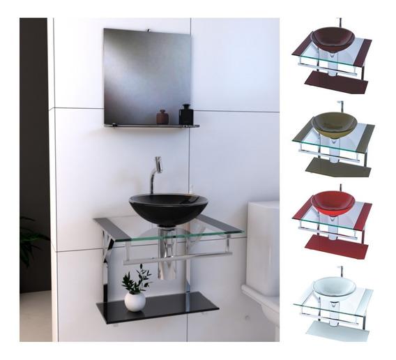 Gabinete De Vidro E Inox 50cm Para Banheiro | Várias Cores