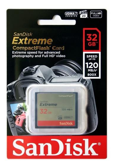 Memória Compact Flash 32gb Sandisk Extreme Cf 120mb/s Fullhd
