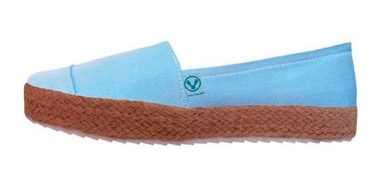 Zapatos Plataforma Korvas Azul Cielo Dama Mujer Casual Yute