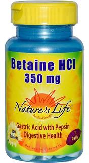 Cloridrato De Betaína Hcl 350mg - 45mg Pepsina Nature