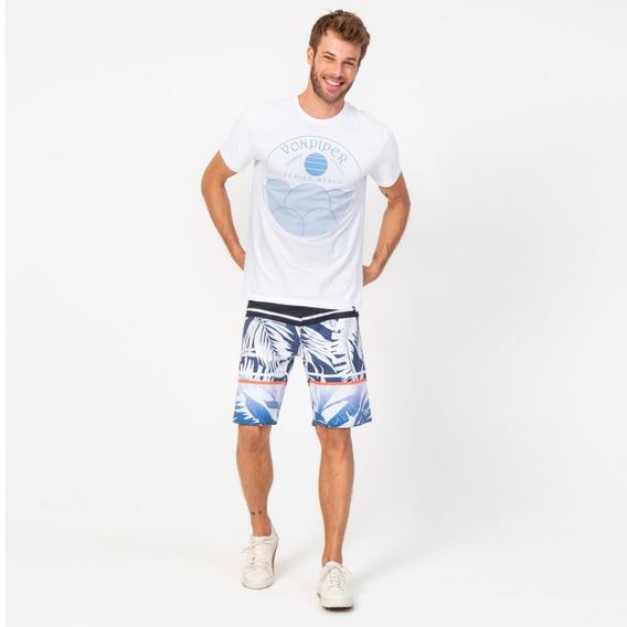 Camisa Casual Masculina T-shirt Venice Praia Branca Vonpiper