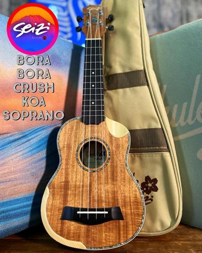 Ukulele Seizi Bora Bora Crush Soprano Elétrico Koa Com Bag