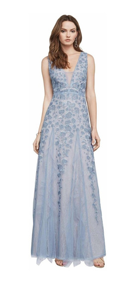 Vestido Largo Bcbgmaxazria Azul Seminuevo Mod Elina Bcbg