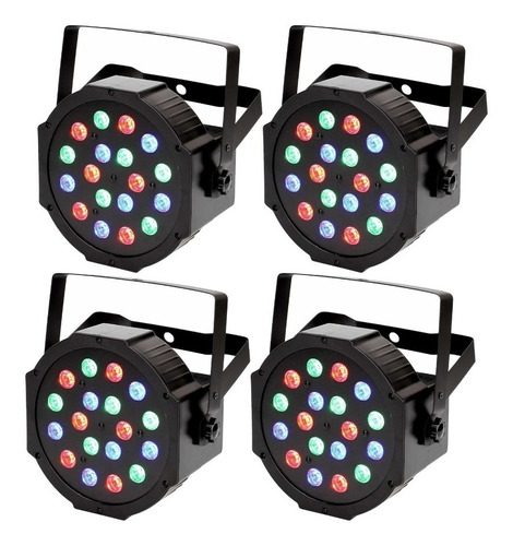 4 Cañón 18x1 Iluminación Dj Tacho Led Rgb Antro Bar