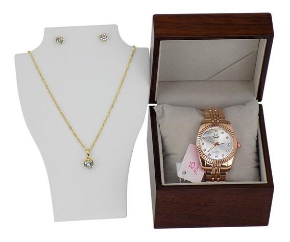 Relógio Dourado Feminino Original + Colar E Brincos - 1a39