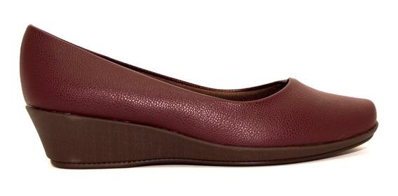 Zapato Relax Mujer Cuero Ecológico Vino Taco Chino