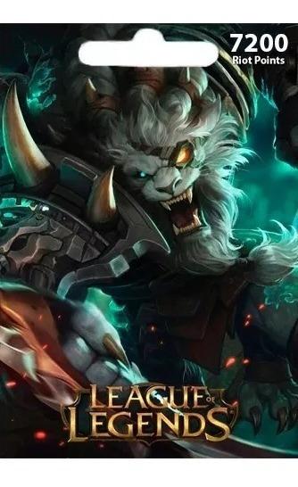 League Of Legends Lol - Cartão 7200 Riot Points Rp Br