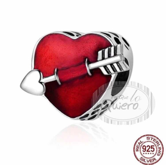 Charm Dije 100% Plata Corazón 1 Amor Rojo Compatible Pandora