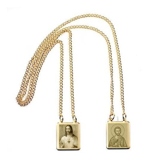 Escapulário Folheado Ouro Coração Jesus São Bartolomeu