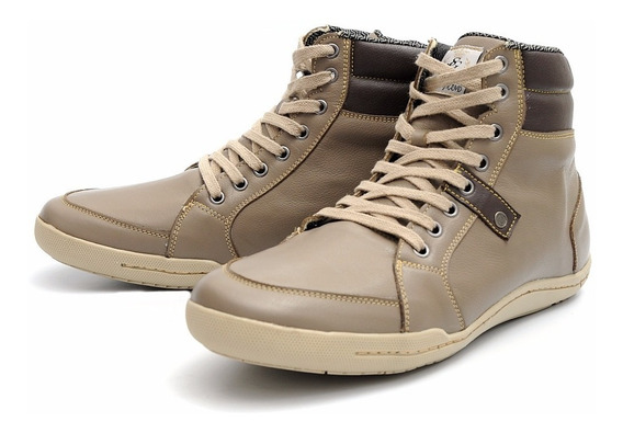 Sapatenis Cano Alto Em Couro Original Confort Shoes Grand