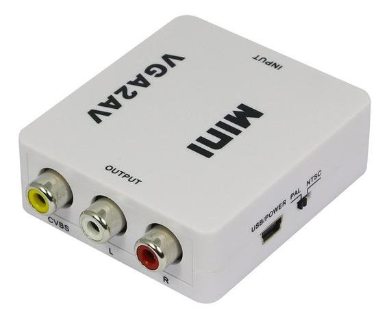 Convertidor Vga A Av Activo Rca Audio Incorporado Adaptador Ideal Notebook A Television Garantia