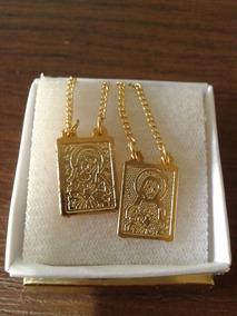 Sagrado Coração De Jesus Escapulário Banhado A Ouro 18 K