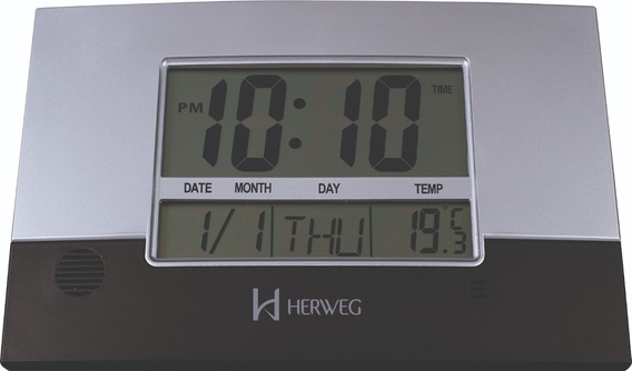 6473 Relógio Parede Mesa Digital Termômetro Calendári Herweg