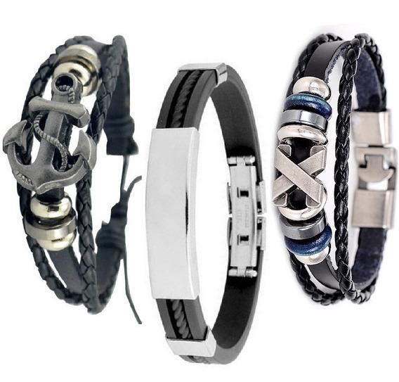 Pulseira Masculina Preta Couro Bracelete Kit Com 3 Unidades