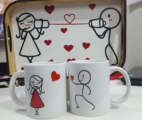 Set Desayuno Bandeja 2 Tazas Personalizadas San Valentin