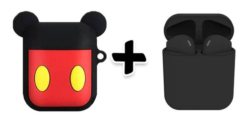 Imagem 1 de 4 de Kit Fone De Ouvido Sem Fio Preto Com Capa Mickey Silicone