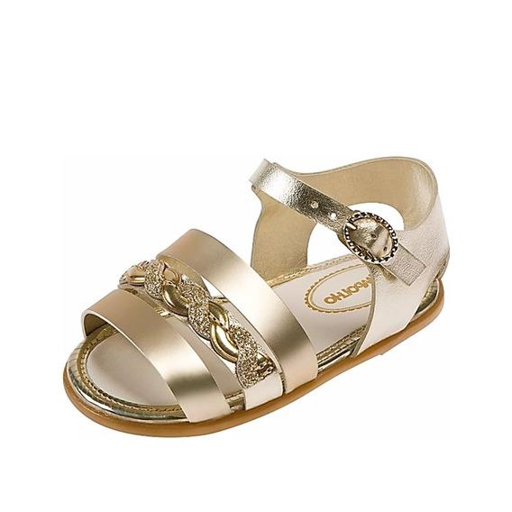 Sandália Menina Tiras Delicadas Ouro Frete Off 008411