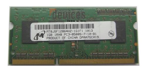 Imagem 1 de 6 de  Memória Notebook Micron 1gb 1rx8 Pc3-8500s Ddr3-usado
