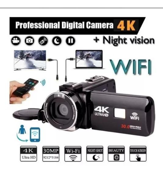 Filmadora 4k Ultra Hd Wi-fi Câmera Digital 3 Com Microfone