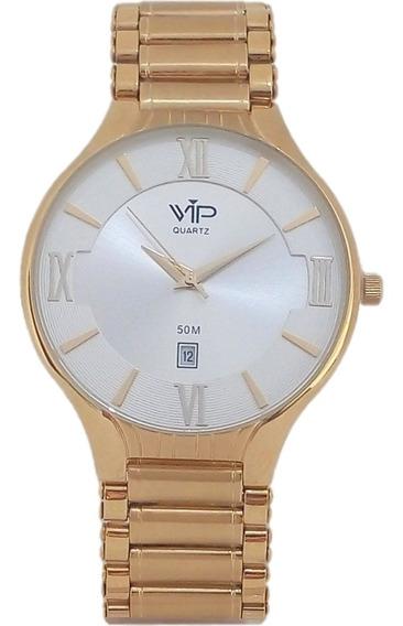 Relógio Masculino Vip Quartz Slim Original Banhado A Ouro.