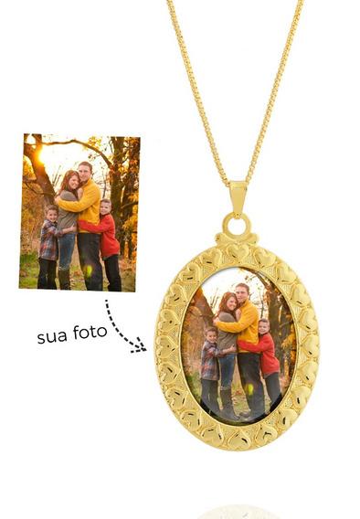 Colar De Foto Personalizado Oval Corações Semi Joia Dourado